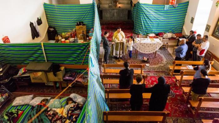 Irakische Flüchtlinge sind in dem Kloster der Jungfrau Maria in Sulaimanija untergekommen Foto: Philipp Breu
